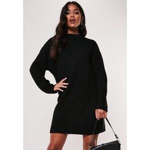 Black High Neck Ribbed Knitted Dress